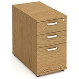 Image of Impulse 3-Drawer Desk High Pedestal / 800mm Deep / Oak