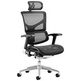 Ergo-Dynamic Posture Chair with Headrest / Black Frame / Arms / Black