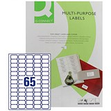Q-Connect Multi-Purpose Label / 38.1x21.2mm / 65 per Sheet / Pack of 100