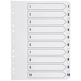 Image of Q-Connect Index Dividers / 1-10 / Clear Tabs / A4 / White
