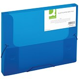 Q-Connect Elasticated Box File / 30mm Spine / Foolscap / Blue