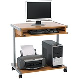 Jemini Intro Mobile Computer Workstation / 800mm Wide / Beech
