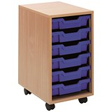 Jemini Mobile Storage Unit / 6 Blue Trays / Beech