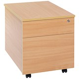 Image of Jemini Intro 2-Drawer Mobile Pedestal - Beech