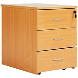 Image of Jemini Intro 3-Drawer Mobile Pedestal - Beech