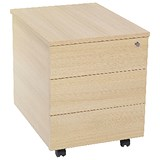 Image of Jemini Intro 3-Drawer Mobile Pedestal - Maple
