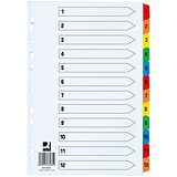 Image of Q-Connect File Dividers / Extra Wide / 1-12 / Multicolour Tabs / A4 / White