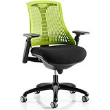 Image of Flex Task Operator Chair / Black Frame / Black Seat / Green Back / Built