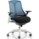 Image of Flex Task Operator Chair / White Frame / Black Seat / Blue Back