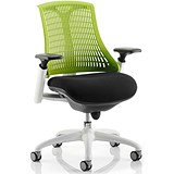 Image of Flex Task Operator Chair / White Frame / Black Seat / Green Back / Built