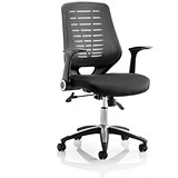 Image of Relay Operator Chair / Airmesh Back / With Arms / Black