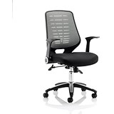 Image of Relay Operator Chair / Airmesh Back / With Arms / Silver