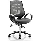 Image of Sprint Leather Operator Chair / Silver Back / Built