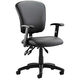 Image of Toledo Leather Operator Chair / Black / Built
