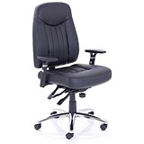 Image of Barcelona Plus Task Operator Chair / Leather / Black