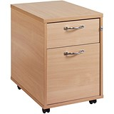 Image of Momento 2-Drawer Mobile Pedestal - Oak