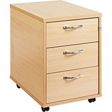 Image of Momento 3-Drawer Mobile Pedestal - Maple