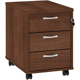 Image of Momento 3-Drawer Mobile Pedestal - Walnut