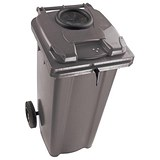 Image of Wheelie Bottle Bank Bin / Aperture Lid Lock / 360 Litre / Grey
