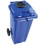 Wheelie Bottle Bank Bin / Aperture Lid Lock / 120 Litre / Blue