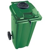 Wheelie Bottle Bank Bin / Aperture Lid Lock / 140 Litre / Green