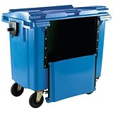Four-Wheeled Bin with Drop-Down Front / 770 Litre / Blue