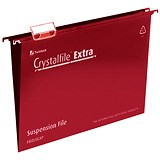 Rexel CrystalFiles Extra Suspension Files / V Base / 15mm Capacity / Foolscap / Red / Pack of 25