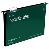 Image of Rexel CrystalFiles Extra Suspension Files / Square Base / 30mm Capacity / Foolscap / Green / Pack of 25
