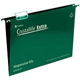 Image of Rexel CrystalFiles Extra Suspension Files / V Base / 15mm Capacity / A4 / Green / Pack of 25
