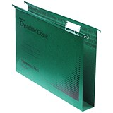 Image of Rexel CrystalFiles Classic Suspension Files / Square Base / 30mm Capacity / Foolscap / Green / Pack of 50