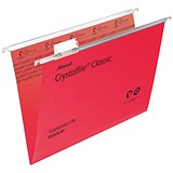 Rexel CrystalFiles Classic Suspension Files / V Base / 15mm Capacity / Foolscap / Red / Pack of 50