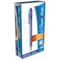 Paper Mate Flexgrip Retractable Ball Pen, Fine, Blue, Pack of 12