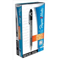 Paper Mate Flexgrip Retractable Ball Pen, Fine, Black, Pack of 12