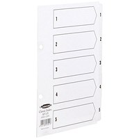 Concord Classic Index Dividers, 1-5, Mylar Tabs, A5, White