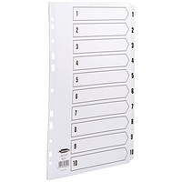 Concord Commercial File Dividers, 1-10, Clear Tabs, A4, White