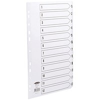 Concord Commercial File Dividers, 1-12, Clear Tabs, A4, White