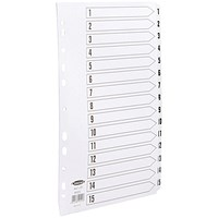 Concord Commercial File Dividers, 1-15, Clear Tabs, A4, White