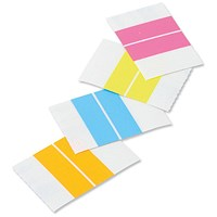 Self Adhesive Index Tabs, 38mm, Assorted Fluorescent Colours, Pack of 24
