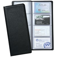 5 Star Classic Business Card Holder, 278x120mm, 64 Pockets for 128 Cards, Black