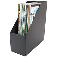 Plastic Jumbo Magazine Rack, 110mm, A4, Black, Pack of 5