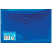 Concord Foolscap Stud Wallet Files, Translucent, Blue, Pack of 5