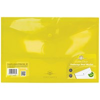 Concord Foolscap Stud Wallet Files, Translucent, Yellow, Pack of 5