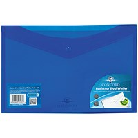 Concord Foolscap Stud Wallet Files, Vibrant, Blue, Pack of 5
