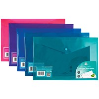 Concord Foolscap Stud Wallet Files, Vibrant, Assorted, Pack of 5