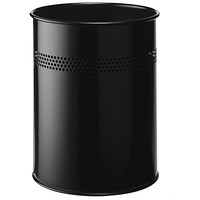 Durable Bin Round Metal Perforated 15 Litre Capacity 30mm Rim Black