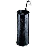 Durable Tubular Umbrella Stand, Metal, Perforated, 28.5 Litres, Black