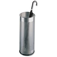 Durable Tubular Umbrella Stand, Metal, Perforated, 28.5 Litres, Silver