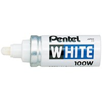 Pentel Permanent Marker, Bullet Tip, White, Pack of 12