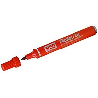 Pentel N50 Permanent Marker, Bullet Tip, Red, Pack of 12