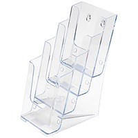 Literature Display Holder, Multi-Tier for Wall or Desktop, 4 x 1/3 A4 Pockets, Clear